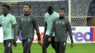 Gvs of Ajax training at the Friends Arena Stockholm ahead of their Europa League final match against Manchester United Coach Peter Bosz cast his eye...