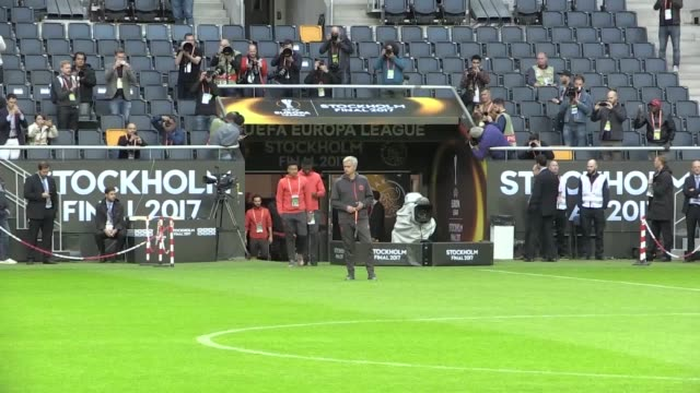 Gvs of Jose Mourinho and the Manchester United squad conducting a brief walk about at the Friends Arena Stockholm ahead of their Europa League final...