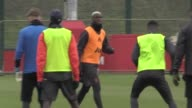 Gvs of Manchester United training ahead of their Europa League knockout stage tie against St Etienne Mourinho Pogba Schweinsteiger Mata Rashford...