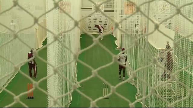 GVs of West Indian team practising at Lord's Cricket Grouind More high angle shots of cricketers practising in nets