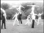 1930 WS Gymnasts performing at Frank Lloyd Wright's Barnsdall Hollyhock house / Los Angeles, California, USA