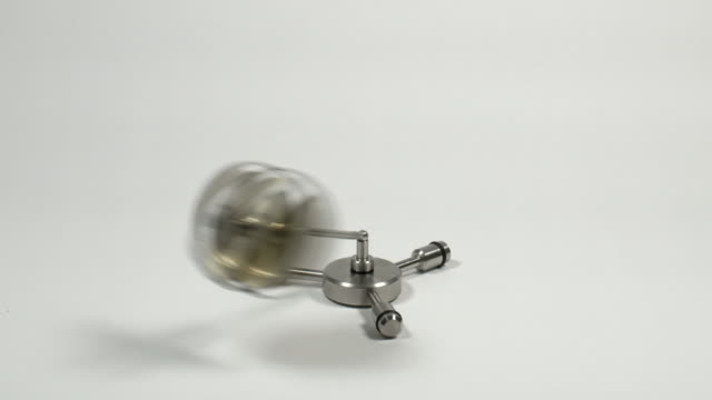 A gyroscope is a heavy spinning disc mounted so that its axis is free to adopt any orientation.