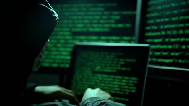 Hacker using computer attacking internet