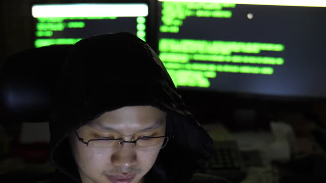 Hackers in hoods work on a computers