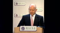Hagiue speech on counterterrorism measures ENGLAND London Royal United Services Institute INT William Hague MP onto podium / Hague introduced SOT...