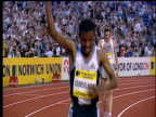 Haile Gebrselassie and Craig Mottram wave and blow kisses to fans after winning and finishing second respectively in the Men's 5000m Crystal Palace...