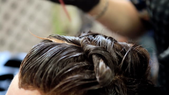 Hair coloring. Hairdresser is coloring long hair with hair dye.
