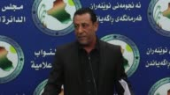 Hakim alZamili the head of Iraqi Parliament's Defense and Security Committee speaks at a press conference on the Iraqi Kurdish referendum for...