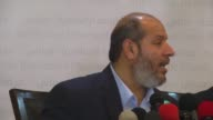 Halil elHayye one of the leaders of Hamas held a press conference on the talks with Fatah movement in Gaza City Gaza on April 18 2017 Hamas on...