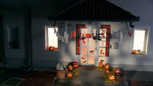 HD CRANE: Halloween Decorations Illuminated By Moonlight