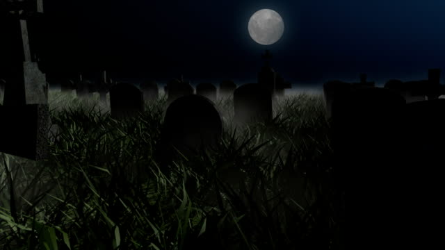 Halloween Graveyard Clear Night Stock Footage Video ...