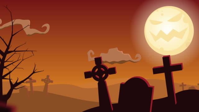 Halloween Friedhof & Baum animierten Hintergrund
