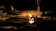 halloween pumpkin burning in the dark