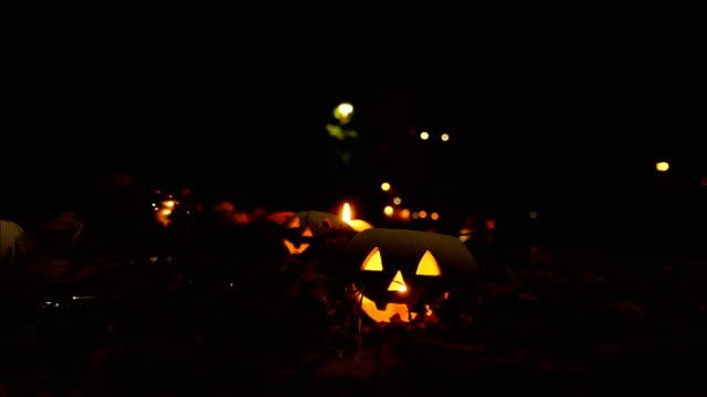 Halloween Pumpkin Head Jack Lantern with Autumn Leafs