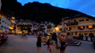Hallstatt town square at dusk