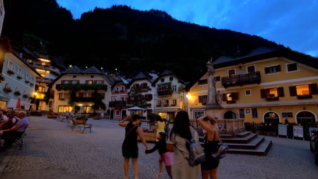 Hallstatt town square at dusk