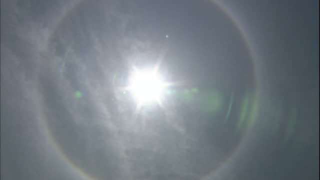 A halo glows around the sun.