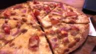 Ham and bacon with extra cheese pizza , Bangkok , Thialand