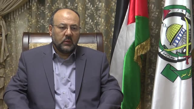 Hamas representative in Lebanon Ali Baraka speaks at an exclusive interview in Beirut Lebanon on October 05 2017 National unity is the most effective...