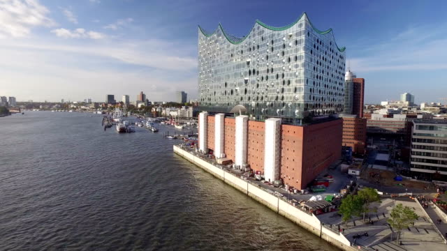 Hamburg Elbphilharmonie and Hafencity Aerial View