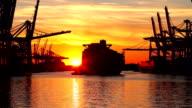 Hamburg - Shipyard in sunset