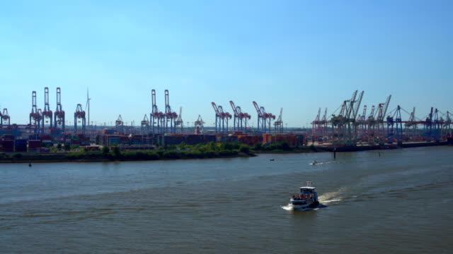 Hamburg Skyline with industriy port, panning