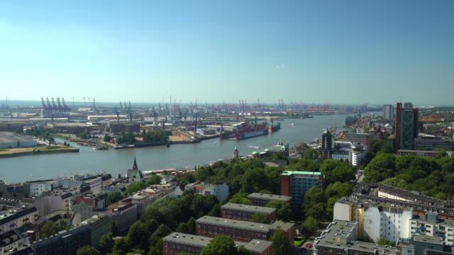Hamburger Skyline mit Werft, Zeitraffer