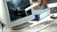 SLO MO Hammer breaking the computer screen