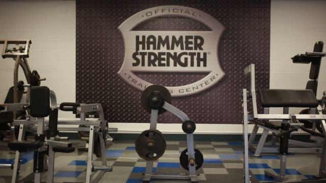 Hammer Strength weightlifting equipment is manufactured at the Life Fitness factory in Falmouth Kentucky US on Thursday April 9 2015 Shots Close up...