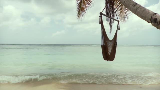 WS Hammock hanging by tree at beach / Scarborough, Tobago, Trinidad And Tobago