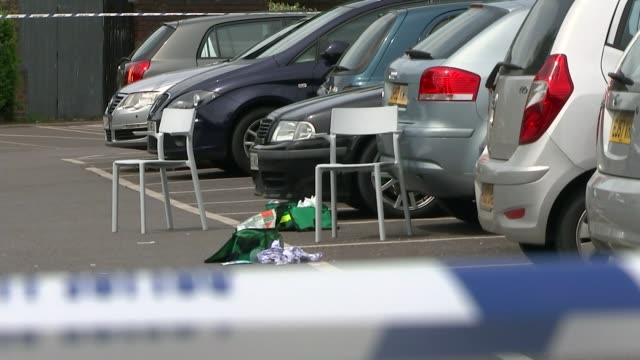 Hampton Sainsbury's car park stabbings Ethem Orhon jailed T20051608 / TX Low angle shot police tape in Sainsbury's car park at scene of stabbing...