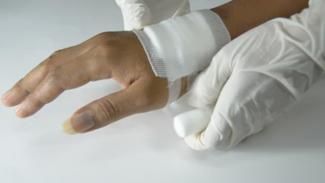 hand, bandaged