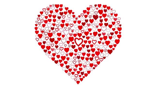 Hand Drawn Herzen-großes Herz zeigen Rot