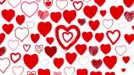 Hand Drawn Herzen rot-Kamera zoomen durch (Endlos wiederholbar)