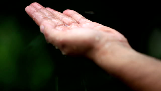 hand gathering collecting raindrops