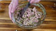 hand make gyoza stuffing