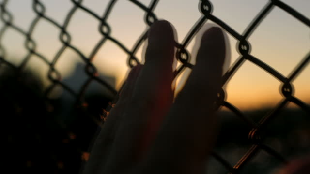 Hand on a fence at sunset