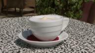 CU Hand picks up cup of cappuccino / Opatija, Croatia