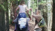 MS handheld of family walking in forest, daughter on Dad's shoulders