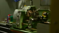 Handheld shot of a heavy-duty Warco machine, UK.