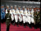 Handover events Jiang Zemin up steps onto stage British officer leading a guard of honour onto the stage as a Chinese guard of honour climbs on to...