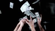 Hand fangen fallenden Dollar (Super Zeitlupe)