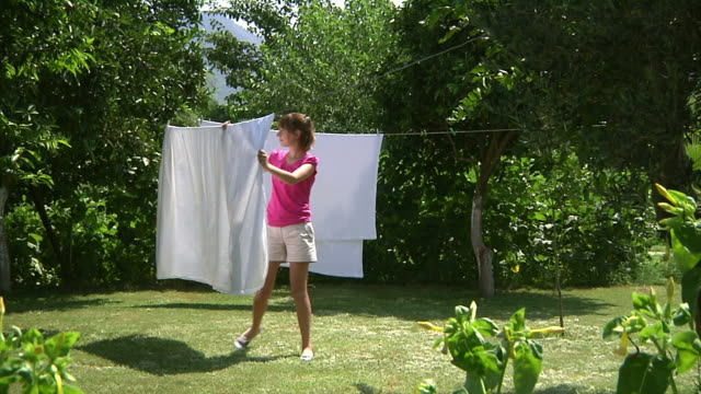 Hanging Laundry in the Garden