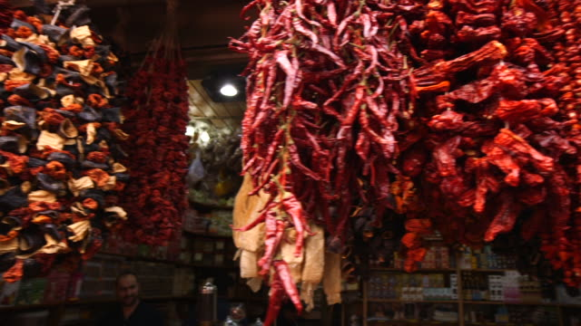 Hanging Peppers In Spice Market  Turkey