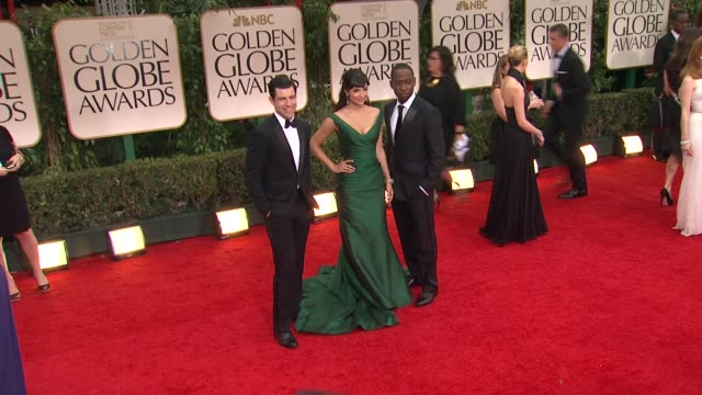 Hannah Simone and Max Greenfield at 69th Annual Golden Globe Awards Arrivals on January 15 2012 in Beverly Hills California