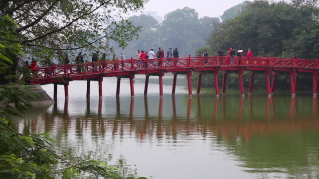 Hanoi, the Huc bridge in the Hoan Kiem lake