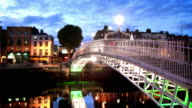 Ha'penny Bridge at Dusk, Dublin, Ireland
