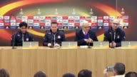 Hapoel BeerSheva's head coach Barak Bakhar and forward Elyaniv Barda attend a press conference the day before the UEFA Europa League Round of 32...