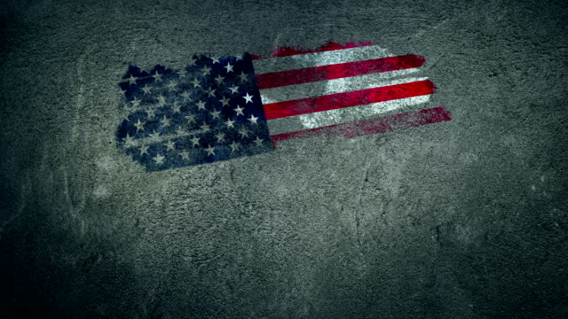 Happy 4th of July. American Flag Painted on Wall.