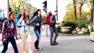 HD: Happy Backpackers Crossing The Street.